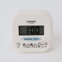 Casio PQ30B-7 WHITE Compact Digital Beep Black Alarm Clock Travel Alarm NEW