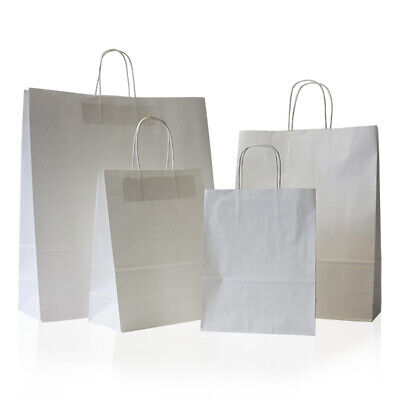 20 SMALL WHITE TWIST KRAFT CRAFT PAPER SOS CARRIER BAGS LUNCH DINNER TAKE AWAY