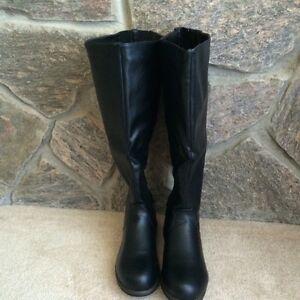 Black Estes wide-calf tall boots