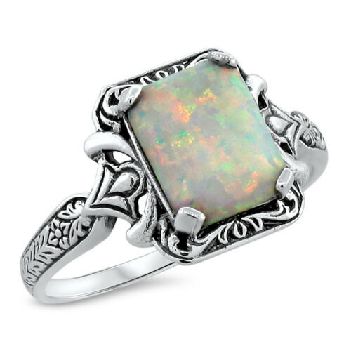 WHITE LAB OPAL ANTIQUE VICTORIAN DESIGN .925 STERLING SILVER RING,          #468