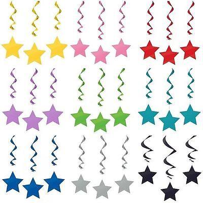 12PCS Hanging Swirl Star Decorations Birthday Party Wedding Baby Shower Girl Boy - Star Hanging Decorations