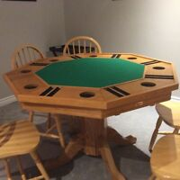3-in-1 Solid Wood Poker Table