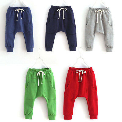 Kids Pants - US Kids Baby Boy Girl Harem Pants Toddler SweatPants Joggers Cotton Bottoms 2-7Y