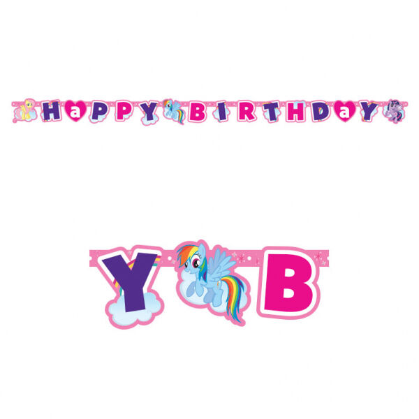 1 X MY LITTLE PONY BIRTHDAY PARTY GIRLS HANGING LETTER BANNER WALL DECORATION