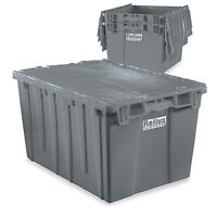 "Tote with Attached Lid - 21.8x15.8x12.9"" - Grey plastic bins"