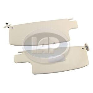 VW BUG SUPER BEETLE IVORY SUN VISOR SET WITH VANITY MIRROR 1968-1977 AC867200