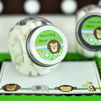 24 Jungle Safari Theme Baby Shower Personalized Candy Jars Favors Lot (Jungle Themed Baby Shower Favors)