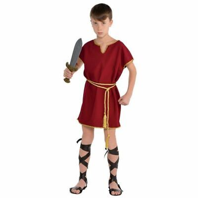 Child Roman Tunic Costume Boys Toga Warrior Burgundy Fancy Dress Outfit One Size