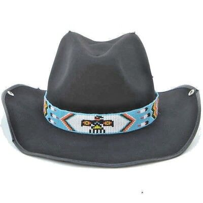 Red White And Blue Cowboy Hat (Blue White Red Yellow Seed Beaded Thunderbird Beadwork Cowboy Hat band Belt)