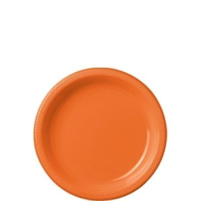 20pk Orange Peel Plastic Plates 17.7cm Birthday Wedding Party Event Tableware - Orange Plastic Plates