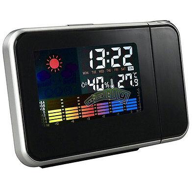 Digital LCD Snooze Alarm Clock Color Display Projection Weather Desk Home Clock
