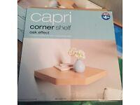 Two Capri Corner Shelves - Oak - NEW