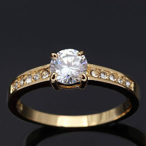 10KT Yellow Gold Filled White Sapphire Ring 9 NEW