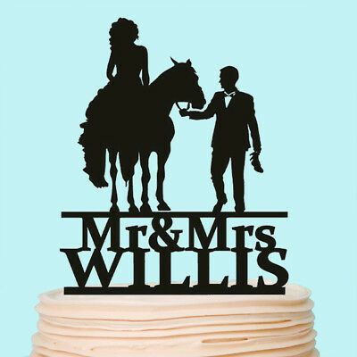 Bride and Groom with Horse Cake Topper Country Wedding Cowboy Wild West