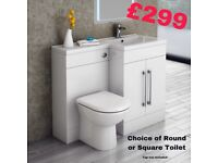 Matrix toilet and basin combination furniture package