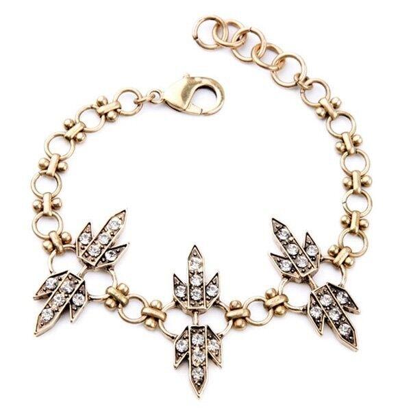 Rhinestone Geometric Chain Bracelet