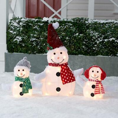 Snowman Family Christmas Decoration Set Holiday Time Light-up Outdoor 3-Piece US Family 3 Piece Set