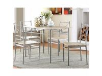 BRAND NEW BOXED Milo Brushed Silver 5-piece Dining set RRP 234
