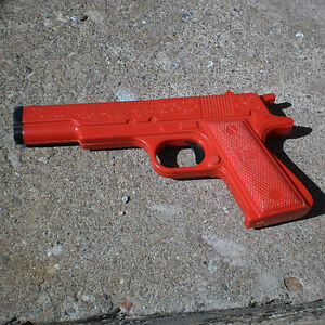 VINTAGE OHIO ART TOY DART GUN MADE IN USA RED PLASTIC PISTOL