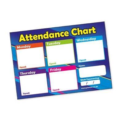 Attendance Chart Cards A6 x 20 Primary Teaching Mathematics Kids Pupils