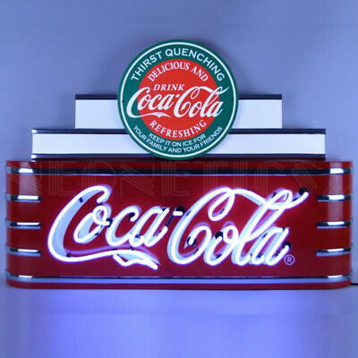 "Neonetics Art Deco Marquee Style COCA COLA Neon Sign 9ADCCG HUGE w/ 15""NeonClock"