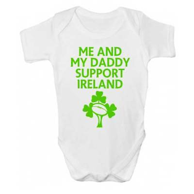Me And Daddy Support Ireland Baby Grow - Rugby Football Babies Clothing - Daddy And Me Clothing