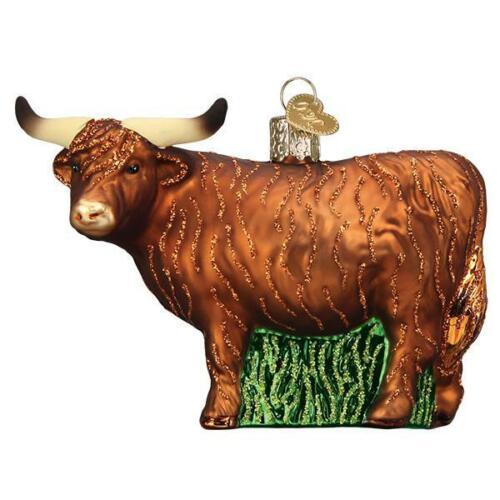 Old World Christmas HIGHLAND COW (12552)N Glass Ornament w/ OWC Box