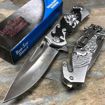 Dark Side Blades Gray Skull Spring Assisted Survival Camping