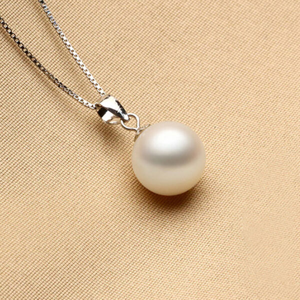 925 Sterling Silver Chic White Pearl Pendant Girl Birthday Xmas Valentines Gift