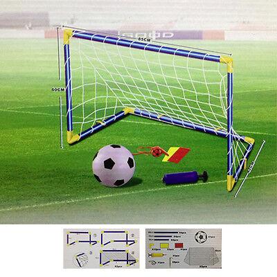 KIDS CHILDS FOOTBALL GOALS POST NET BALL PUMP WHISTLE TOY INDOOR OUTDOOR SOCCER
