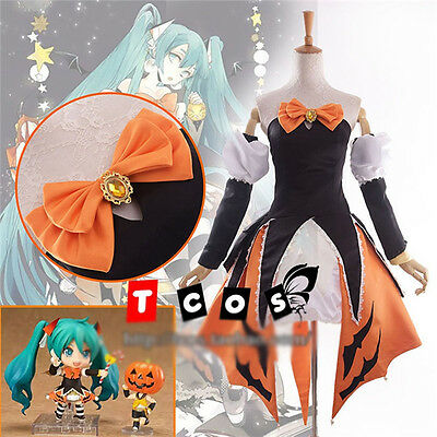 Vocaloid Hatsune Miku Cosplay Costume Halloween Orange Black Dress Free Shipping