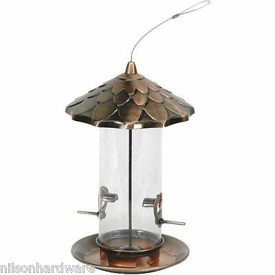 """2-Stokes Select 8"""" D X 12.8"""" H Copper Acorn Hanging Bird Food Seed Feeder 38288"""