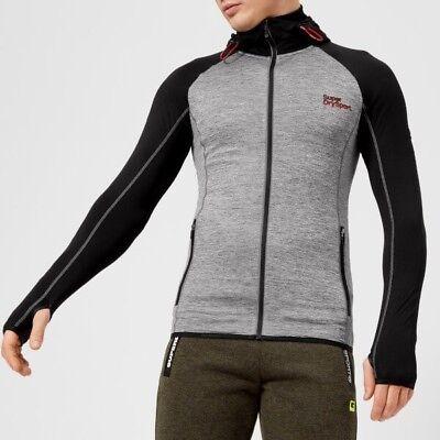 Superdry Sport Men's Athletic Raglan Zip Hoody, Mid Grey Grit-Black XL Grey NEW