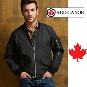 NEW RED CANOE JACKET MEN'S XL CHARCOAL - FLIGHT JACKET - CANADIAN HERITAGE BRAND - DESIGNED IN CANADA 106843083