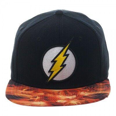OFFICIAL DC COMICS THE FLASH SYMBOL BLACK SNAPBACK CAP WITH PRINTED VISOR (NEW) - Cheap Visor Hats