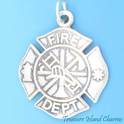 FIRE DEPARTMENT BADGE FIREFIGHTER .925 Sterling Silver Charm Pendant MADE IN - Firefighter Badge Charm