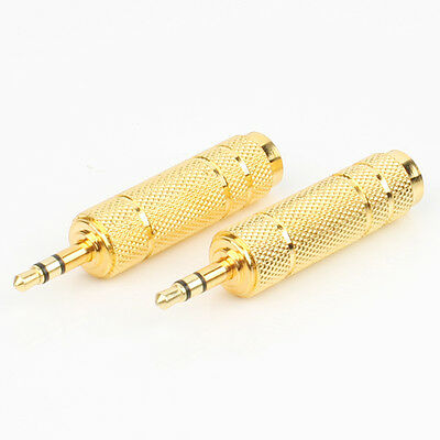 2 x 3.5mm Jack Plug to 6.35mm 1/4 Inch Male Stereo Headphone Jack Socket Adapter