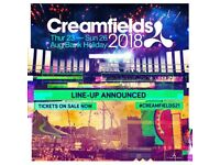 Creamfields 4 day silver camping ticket for sale, includes car park pass.