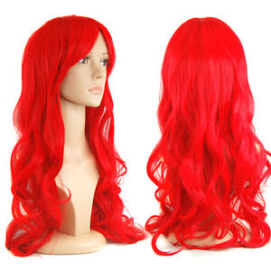 Top Quality 28'' Human Hair Gorgeous Ladies Long Wavy Curly Fancy Dress Full Wig
