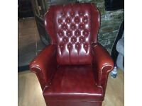 Old fake leather armchairs ,