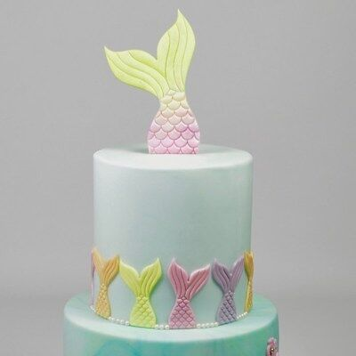 Mermaid Cake Ideas (FMM Mermaid Tails Cutter Set 2 Piece, Girls/Boys Birthday Cake)