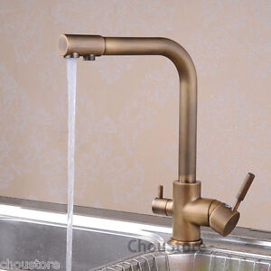 Antique Brass Kitchen Sink Faucet Mixer Tap With Pure Filter Water Spout Supp