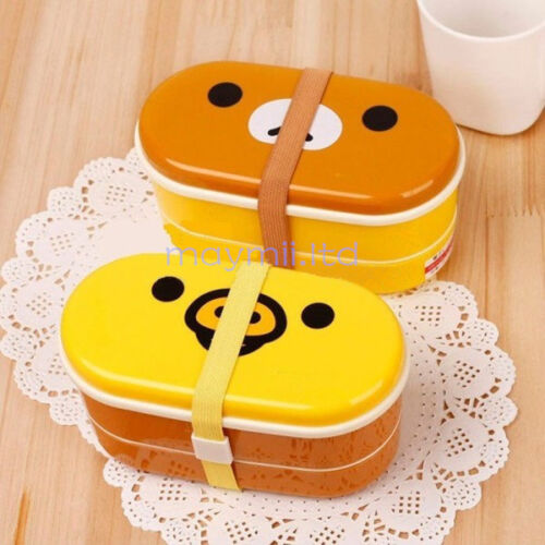 High-Relax-Bear-2-Tier-Rilakkuma-Lunch-Box-Bento-Heat-Resistance-Free-Chopsticks