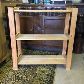 Pine slatted shelving storage unit