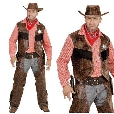 Cowboy Herren Western Kostüm Gr. 50 (M) Bill - Weste mit Hemd + Chaps + Hut #592 (Cowboy Chaps Kostüm)