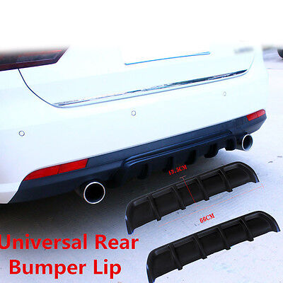 "25""x5"" Auto Car Motor Matte Black Rear Shark Fin Curved Bumper Lip Diffuser Kit"