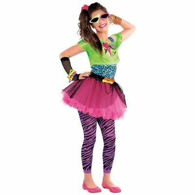 80s Totally Awesome Costume Teen Neon Pink Tutu Fancy Dress Girls Outfit 12-14yr ()