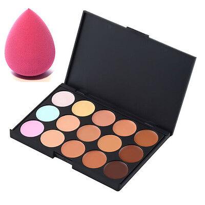 15 Color Face Creamy Concealer Hide Blemish Makeup Concealer Cream+Sponge Puff