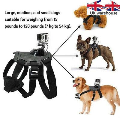 for GoPro HD Hero Camera Adjustable dogs Pets Harness Back & Chest Belt Mount UK