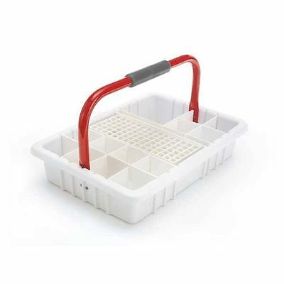 White Phlebotomy Tray With Red Handle And 17mm Test Tube Rack 1 Ea